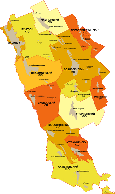 Карта Лабинского района